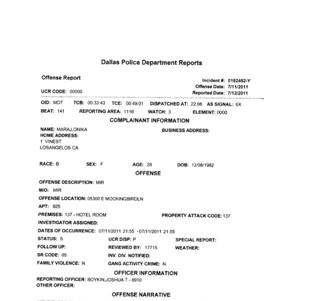 Police Report Shows Nicki Minaj's Real Age & It Aint 26 + More Dets on Physical Altercation
