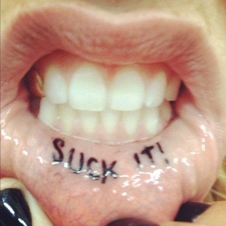 White Girl Thug Life :: Ke$ha Gets New Lip 'Suck It' Tattoo