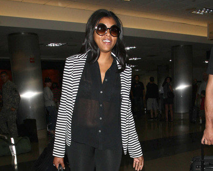 Airport Style : Taraji P Henson Struts Through LAX With Shear Attire
