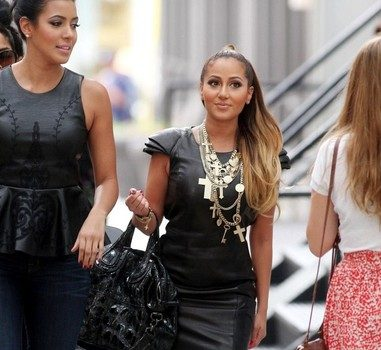 Gold Chains & Leather : Adrienne Bailon Dines in Soho