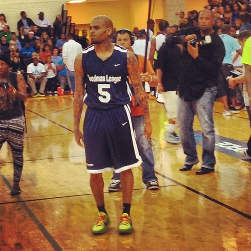 Chris Brown & Karrueche Hit DC for 'Goodman League' Basketball Game