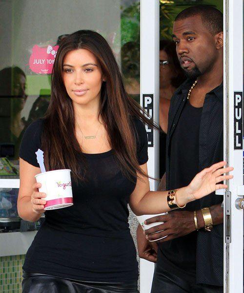 Kim Kardashan & Kanye Wear Matching Leather Bottoms