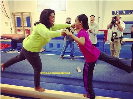 [Photos] Gabby Douglas Teaches Oprah Winfrey Gymnastics For 'Next Chapter'