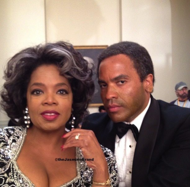 A Gracefully Aged Oprah & Lenny Kravitz On 'The Butler' Set