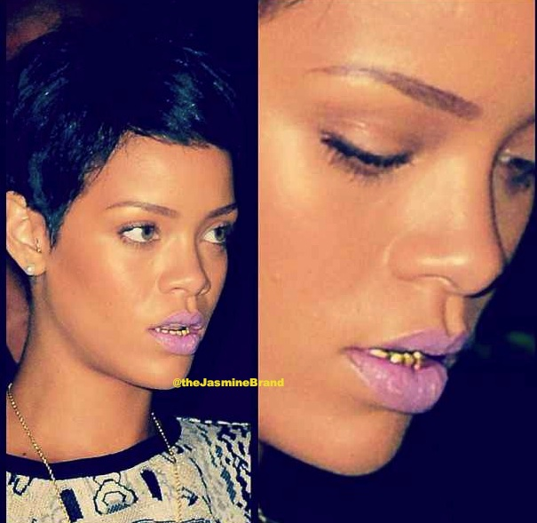 Stylin-On-You-Hoes : Rihanna Rocks New Gold Grill