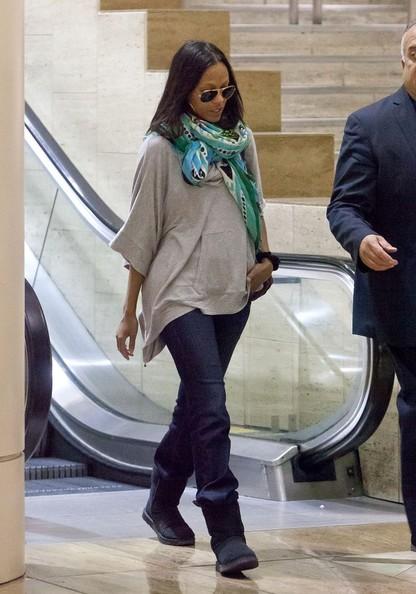 Spotted. Stalked. Scene. Zoe Saldana Arrives at LAX Airport, Minus Nina Simone