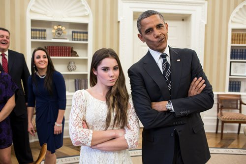 (Photos) President Obama Gives His Best B-Boy Stance With Women's Olympic Gymnastic Team