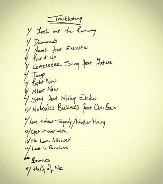 Rihanna's 'Unapologetic' tracklist
