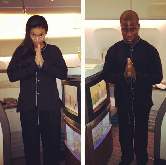 Kevin Hart & Girlfriend Eniko, Jet Set in Pajamas for Christmas