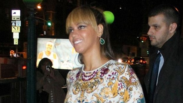 Beyonce Returns to NYC, Hits the Town in Form Fitting Print Dress