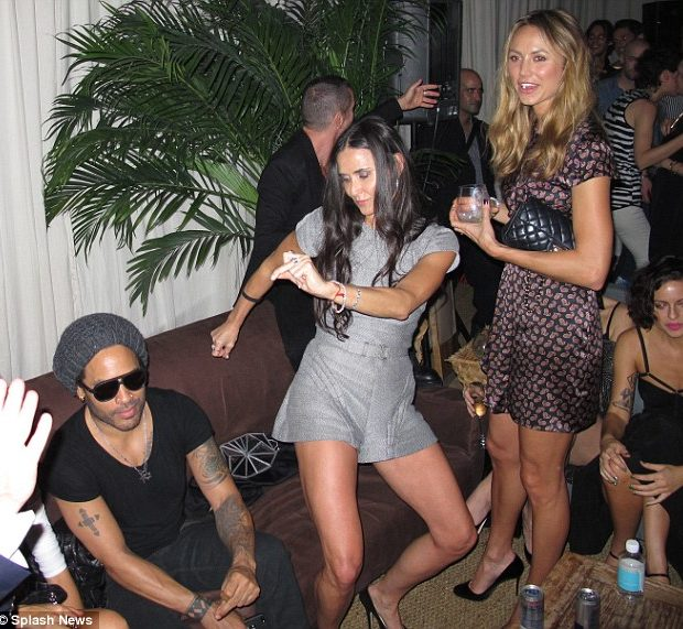Demi Moore Busts Funky Dope Moves, Parties With Lenny Kravitz