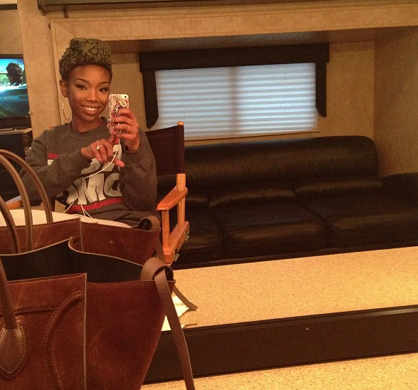This week, Brandy shared some photos of her on set, filming for BET