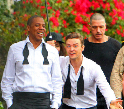 Jay-Z Makes A Rare Twitter Appearance + Shoots in Rainy LA with Justin Timberlake