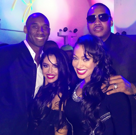 kobe and vanessa bryant-lala and carmelo anthony-michael jordans 50th birthday-the jasmine brand