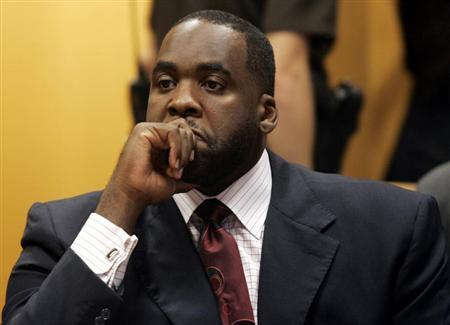 Detroit Mayor Kilpatrick sits in a Wayne County Circuit Court room during a bond hearing to request removal of his court ordered tether and loosening travel restrictions in Detroit