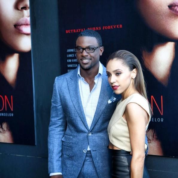 lance gross-girlfriend-fighting temptation atlanta movie premiere-the jasmine brand