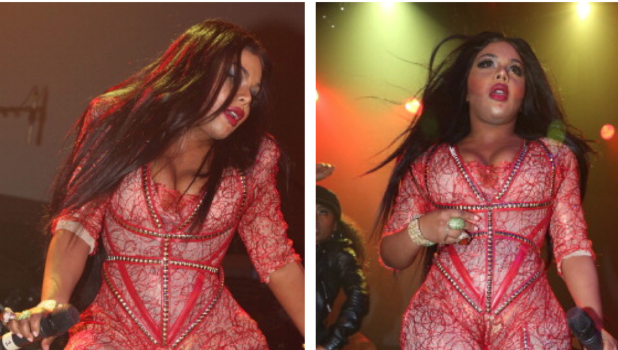 [Photos] Queen of Catsuits: Lil Kim Serves Skin Tight Body Suit Lace for NYC Show