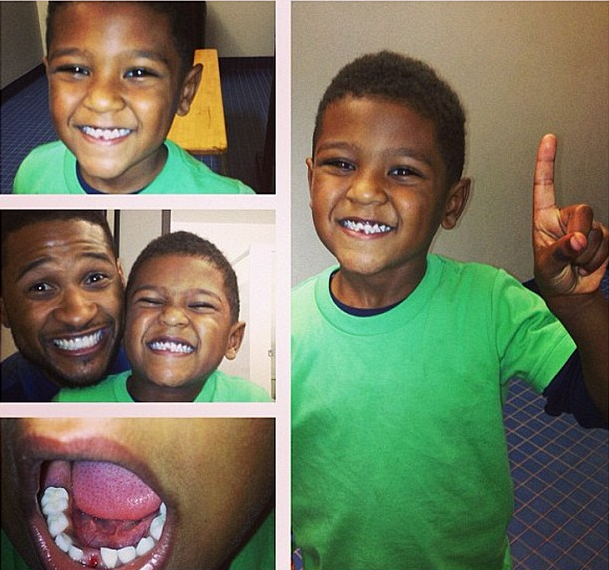 Tooth Fairy Snags Usher & Tameka Raymond's Son's Teeth + Stevie Wonder Is Doo-Rag Fresh At LAX