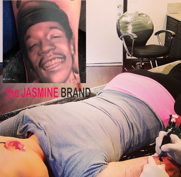 Ouch! Amber Rose Gets Wiz Khalifa's Face Tattoo'ed On Her + Wiz Says Baby Weed Sock Critics Can Go 'Eff Themselves!'