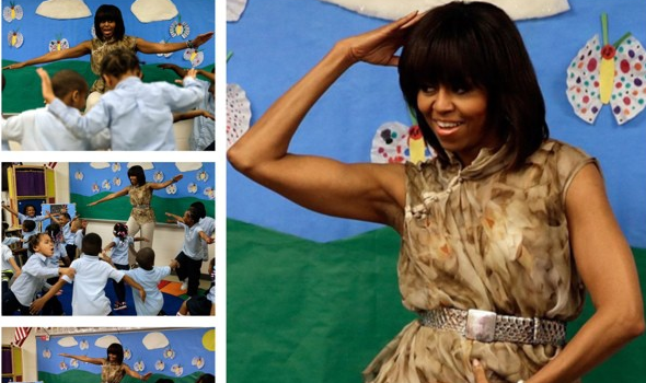 [VIDEO] First Lady Michelle Obama Dances To James Brown With Elementary Students