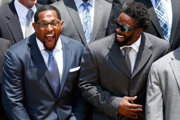 ed reed-ray lewis laugh-president-barack obama-welcomes baltimore ravens-the jasmine brand