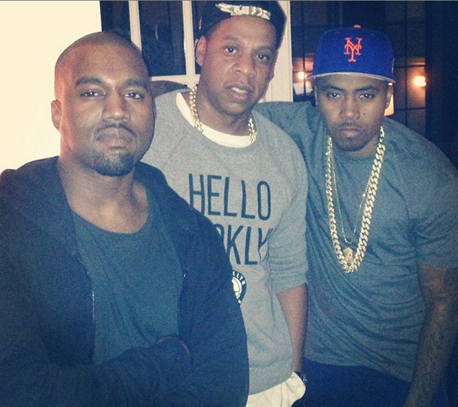 kanye west birthday dinner 2013-jayz-nas-the jasmine brand