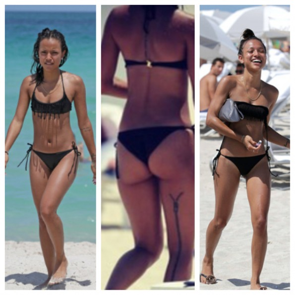 Karrueche-Beach-Body-Zipper-Tattoo-2013-The-Jasmine-Brand