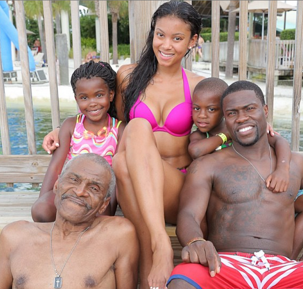 Roller Coasters & Water Slides: Kevin Hart Takes Girlfriend, Kids And Dad to Disney World