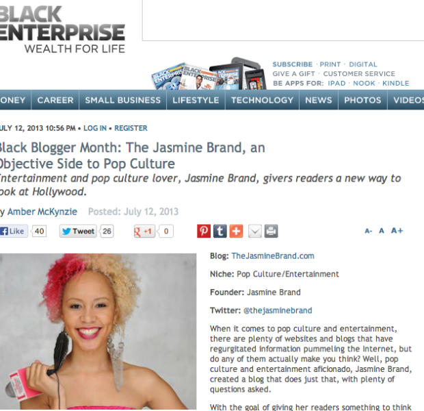 Black Enterprise Interviews Jasmine BRAND, 'An Objective Side of Pop Culture'