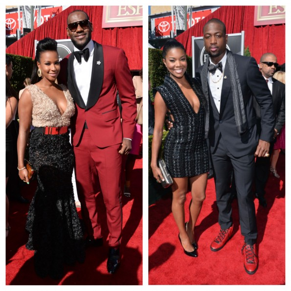 lebron james-fiance-gabrielle union-dwade-espys red carpet 2013-the jasmine brand