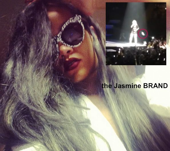[WATCH] Rihanna Reacts to Fan Throwing Food At Her During Concert + Are We Feelin' Her New Gray Hair?