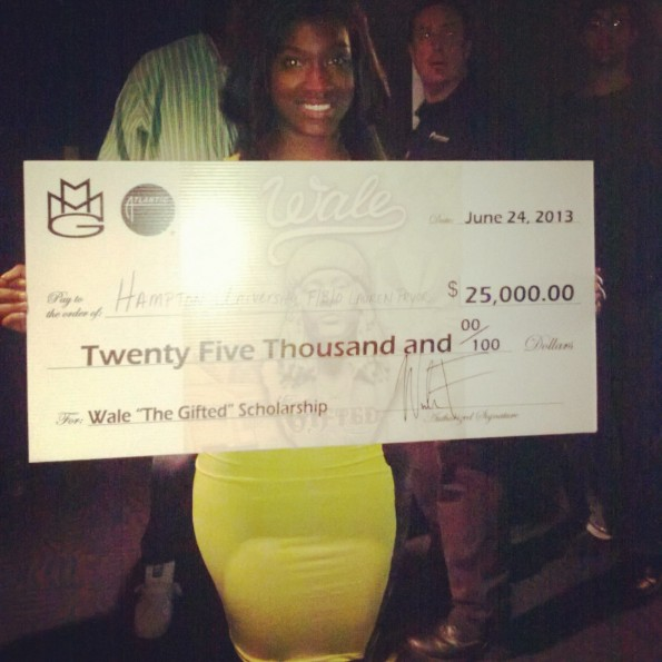 wale-gives college scholarship-the jasmine brand