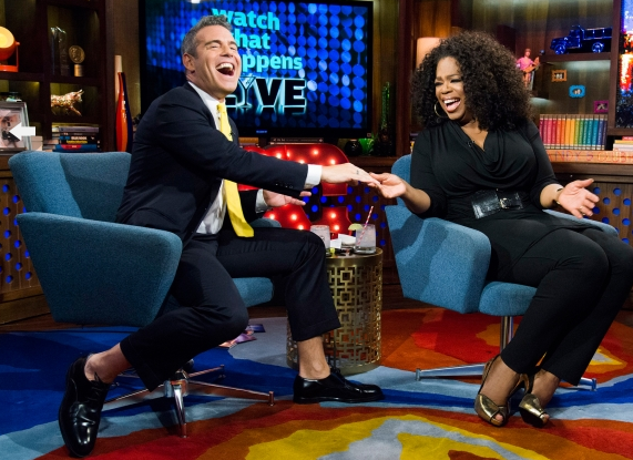 [VIDEO] Oprah Winfrey Invades Watch 'What Happens Live': Addresses Lesbian Rumors, Fake Slaps Andy Cohen + Talks Last Interview With Whitney Houston