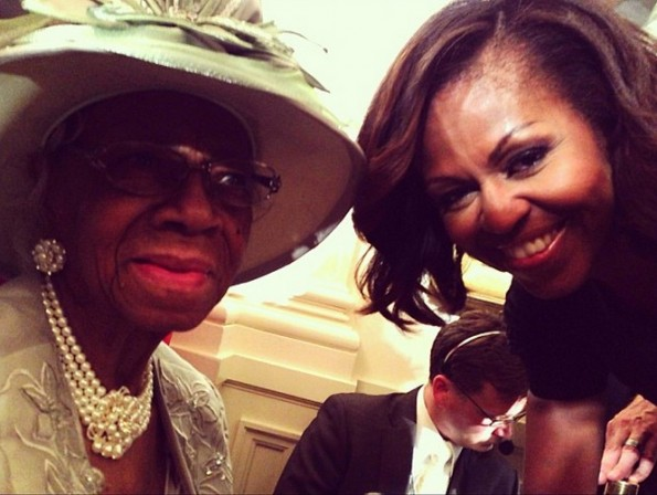 first lady michelle obama-star jones-and grandmother-visit white house 2013-the jasmine brand