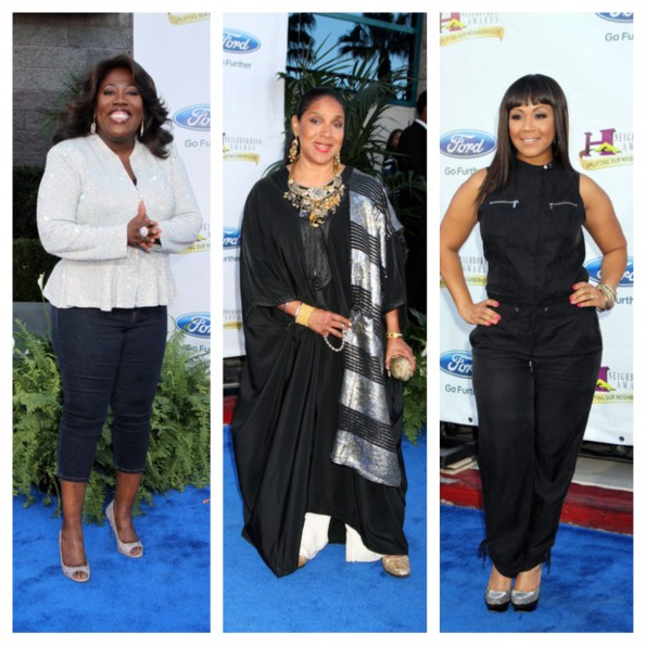 sheryl underwood-phylicia rashad-erica campbell-hoodie awards blue carpet 2013-the jasmine brand