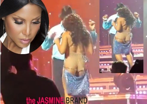 [WATCH] Toni Braxton's Wardrobe Malfunction Leaves Her A** Out, Literally On Stage