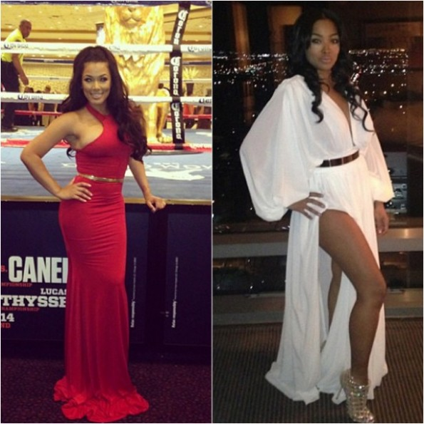 floyd mayweather fiance-miss jackson-new girlfriend queen princess-attend alvarez fight-the jasmine brand