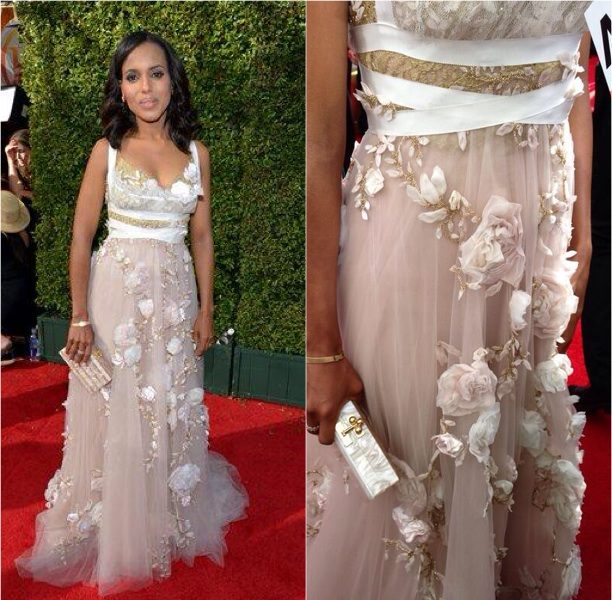 Ovary Hustlin': Pregnancy Rumors Break! Kerry Washington Shows Up Glowing With Loose Fitting Gown For Emmy's Red Carpet