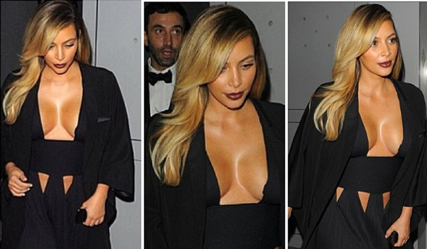Kim Kardashian Steps Out In Boob Baring Givenchy Dress + Check Out Baby North's High-End Designer Diggs