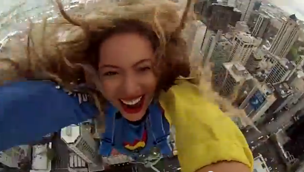 [WATCH] Beyonce Documents Her Big Free Fall Jump: 'This is awesome!'