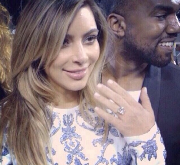 kim kardashian-engagement ring-kanye west-the jasmine brand