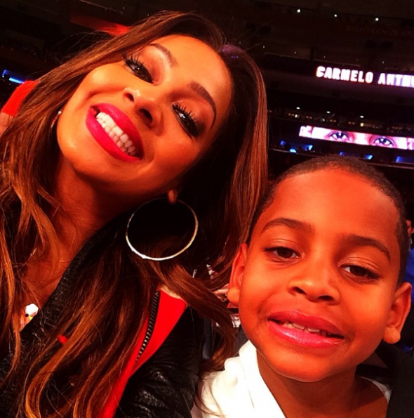 Lala-Anthony-Son-Kiyan-Knicks Game-The Jasmine Brand