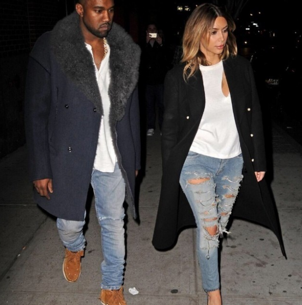 Kim-Kardashian-Kanye-West-Rock-The Same-Look-The Jasmine Brand