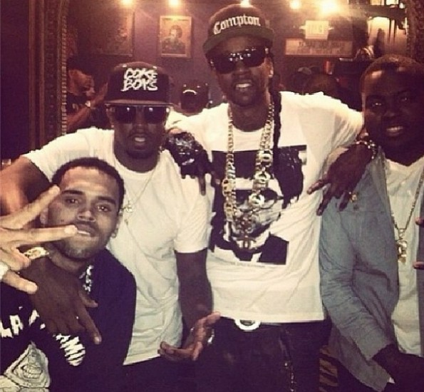 fresh out of rehab-chris brown parties with-diddy-2 chainz-sean kingston-the jasmine brand