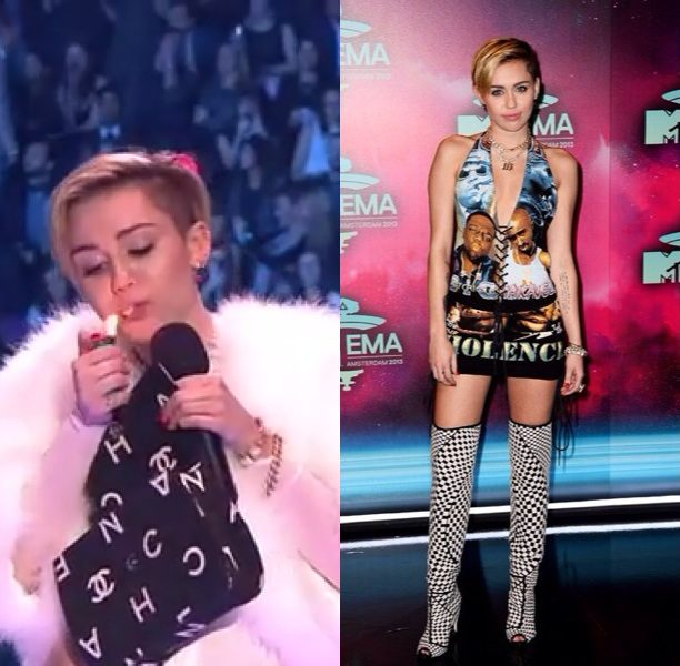 Miley Cyrus Rocks Biggie Tupac Dress, Smokes A Joint On Stage At 'MTV Europe Music Awards'