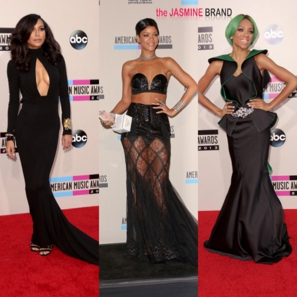 naya rivera-rihanna-lil mama-AMAs-american music awards red carpet 2013-the jasmine brand