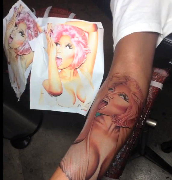 nicki minajs boyfriend-gets face tattoo on his arm-the jasmine brand