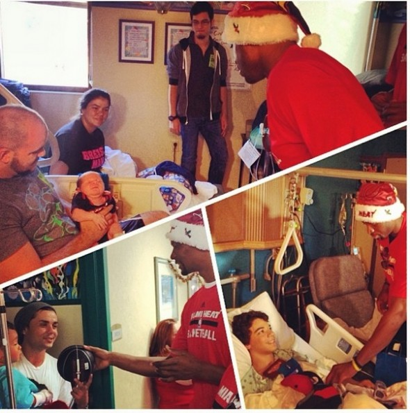 christopher bosh-d wade-miami heat-deliver christmas gifts-visit hospital 2013-the jasmine brand