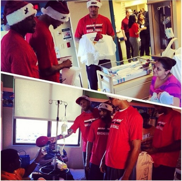 d wade-miami heat-deliver christmas gifts-visit hospital 2013-the jasmine brand