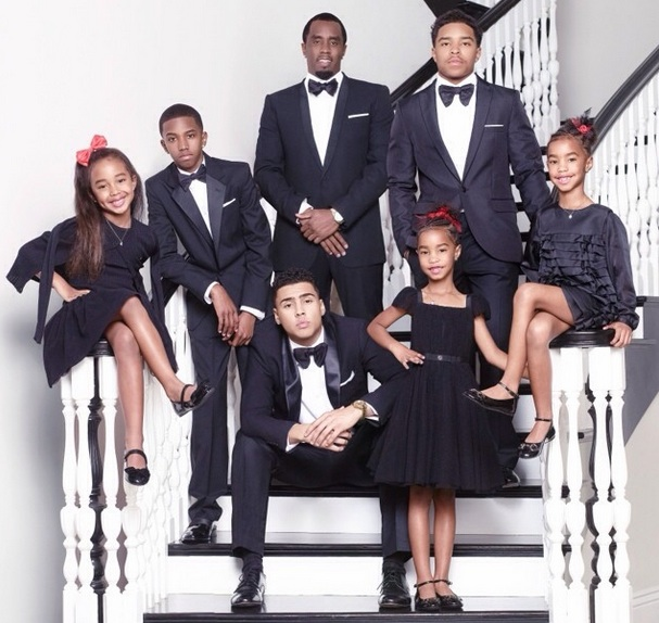 Diddy's 6 Kids Shine In New Holiday Card, Baby Mama's Not Included